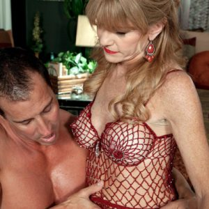 Over Fifty MILF Denise Day letting hefty knockers loose from lingerie for nip eating