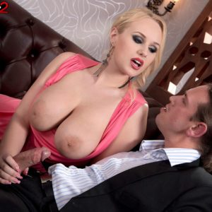 Sandy-haired solo girl Angel Wicky exposing adorable suspending breasts during doggystyle sex