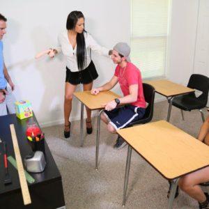 Sex education lecturer Jamie Valentine demeaning schoolgirls with big sex toy
