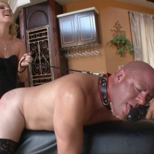 Spindly ash-blonde wife Ashley Edmunds face fucking and pegging collared sex sub