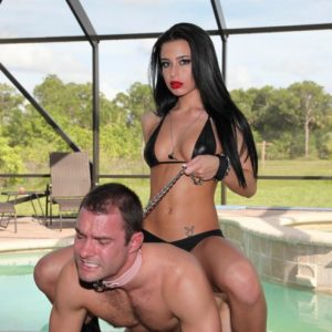 Stunning black-haired gf Adriana Lynn leading collared subby hubby by leash in pumps