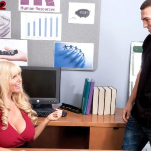 Ash-blonde manager dame Karen Fisher exposing enormous boobies while seducing employee