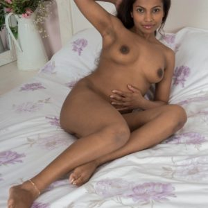 Barefoot black first-timer Alishaa Mae baring huge melons and unshaven twat from lingerie