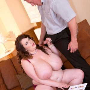 Black-haired BBW Anna Beck revealing enormous tits before giving BLOW-JOB and fucking on couch