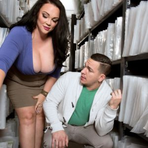 Black-haired BIG HOT LADY Charlotte Angel disrobe nude for doggie banging by co-worker
