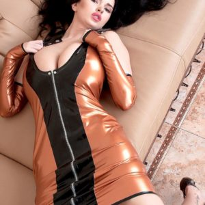 Black-haired solo girl Sha Rizel demonstrating no panty upskirt in latex sundress and high heeled shoes