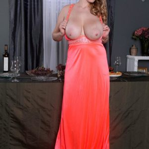 Blond MILF Melissa Manning demonstrating up microskirt undies before unsheathing monster-sized knockers