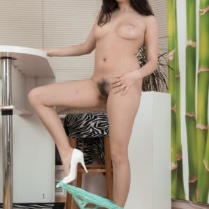 Brunette Bellavitana slipping panties over ultra-cute ass to unsheathe furry cootchie