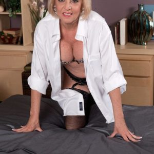 Busty ash-blonde Sixty plus MILF Scarlet Andrews having hard nips blown and taunted
