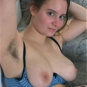 Busty Euro amateur flashing wooly pits and twat in the nude