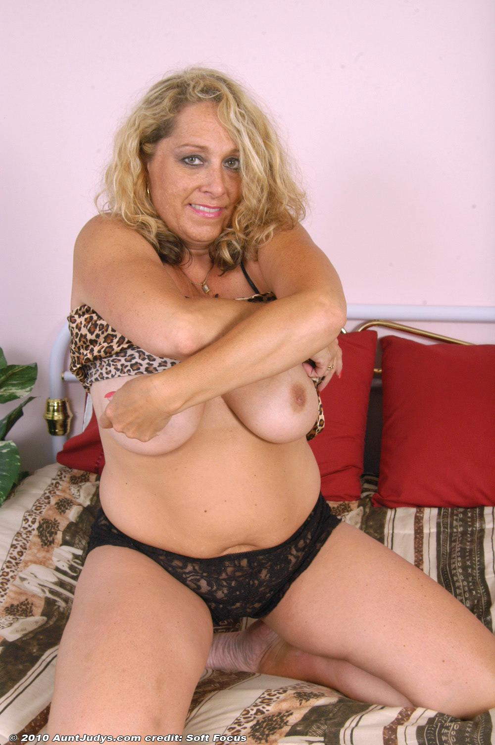 Chunky Older Golden-Haired Woman Peeling Off Lingerie And -6776