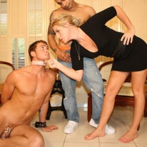 Collared subby spouse forced to gobble immense wood by blonde mistress Ashley Edmunds