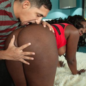 Curvaceous black MILF Mia Milan having her enormous arse freed from short sundress and panties