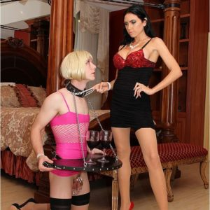 Dominant brown-haired mistress Emmanuelle London abjecting crossdressing sissy maid