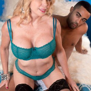 Elder ash-blonde gal Alexa Rae extracting monster-sized titties from boulder-holder to hooter engage in intercourse large black dick