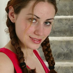 Euro first-timer in braided pigtails demonstrating diminutive tits and unshaven slit