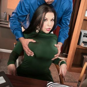 Gigantic breasted dark haired MILF Sheridan Enjoy undressed nude by coworker in work environment