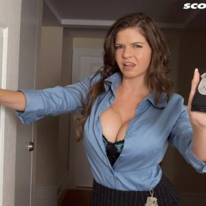 Huge breasted dark haired policewoman June Summers delivering hand-job to enormous dick