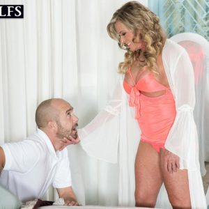 Huge-chested elder ash-blonde woman Missy Blewitt seducing junior stud for sex in lingerie
