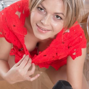 Light-haired first-timer Ayda rolling stockings down legs to uncover hairy snatch
