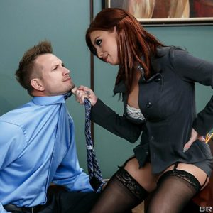 MILF pornostar Britney Amber getting butt pounded adorned tights on office desk