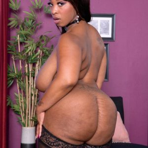 Obese ebony babe Virgin Blossoms flaunting large ass in tights and lingerie