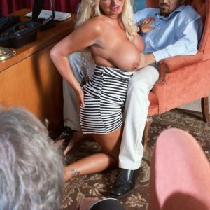 Older blond woman Annellise Croft demonstrating big knockers in front of cuck