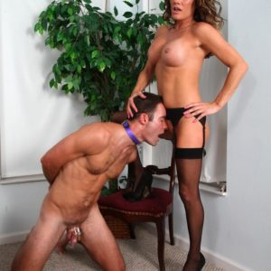 Stocking and high heel garbed mistress Allura Sky dominating collared subby spouse