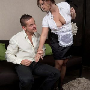 Stocking and uniformed garbed maid having hefty all-natural titties revealed for nipple play