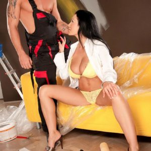 Black-haired stunner Patty Michova having large breasts liberated before licking gigantic sausage