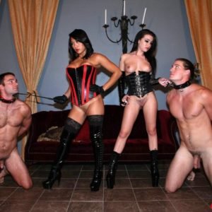Dark-haired Dominatrixes Adriana Lynn and Mia Li abuse collared and nude boy subs