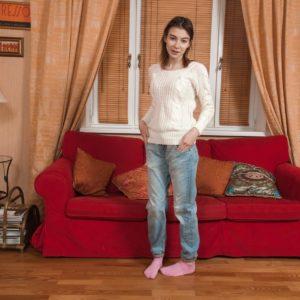 Denim jeans clad amateur Taffy undressing off panties for parting of unshaven cunt