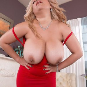 Light-haired Latina MILF Nancy Navarro loosing large all natural funbags in high-heeled shoes