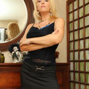 Long-legged sandy-haired gf Charlee Chase face boinking collared sub with strap-on rod