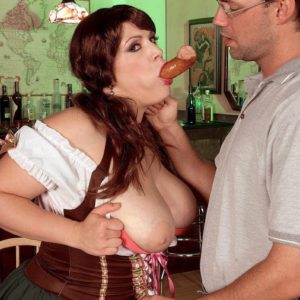 Overweight female Brandy Ryder uncovering hooters before slurping and riding dick