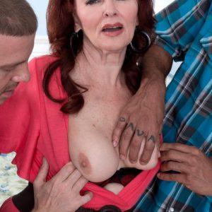 Redheaded grandma Katherine Merlot extracting gigantic booty before multiracial MMF Threeway