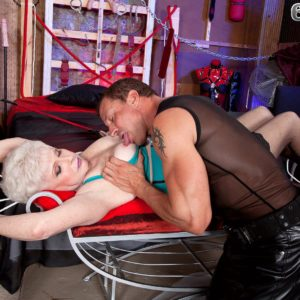 Short haired granny Jewel liking gonzo BDSM sex in latex dress and hosiery