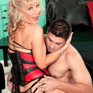 Wonderful grandma XXX adult star Phoenix Skye seducing sex from junior man in magnificent lingerie