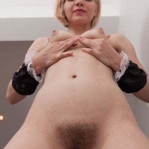 Young Euro ash-blonde Baibira pulling out unshaven vagina from maid uniform in heels