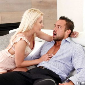 Youthfull platinum-blonde female Brooke Underhill consoles aged dude and boinks his monster-sized hard-on