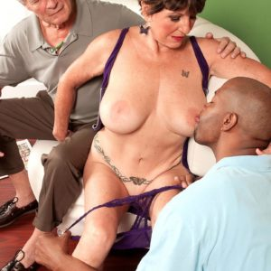 Big-titted MILF over Sixty Bea Cummins fucking BIG BLACK PENIS while cuckold hubby views