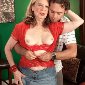 Blonde MILF over 60 Miranda Torri revealing massive natural boobies and bare ass