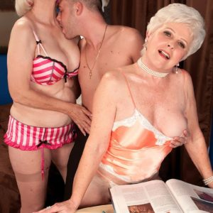 Horny grandmas Jewel and Lola Lee delivering double fellatio in tan stockings