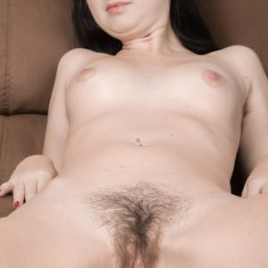 Huge-boobed first timer Megan vaunting hairy underarms and wooly cooch underneath spandex pants