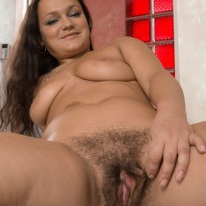 Huge-titted brunette first timer Ericka Fly opening up hairy snatch after vaunting hairy armpits