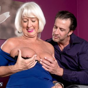 Non nude 60 plus MILF Jeannie Lou unleashing immense older funbags in crotchless panties