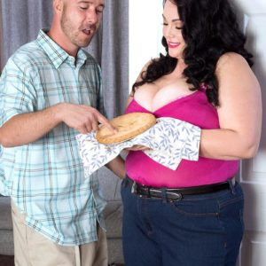 Obese brown-haired gf Charlotte Angel likes some food before her screw sessions