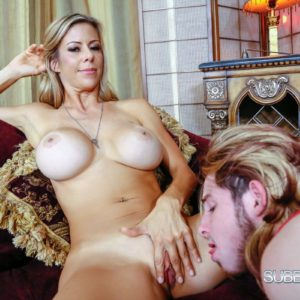 Tall sandy-haired X-rated starlet Alexis Fawx having barefeet fellated by crossdresser in lingerie