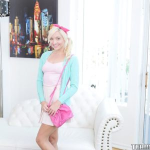 Youthful platinum-blonde chick Eliza Jane slurping and banging a large rod