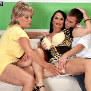 Aged lezzies Lexi McCain and Rita Daniels having 3 way sex in high-heels
